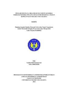 Pengaruh Budaya Organisasi Dan Motivasi Kerja Terhadap Kinerja Pegawai Di Kantor Regional I Badan Kepegawaian Negara Yogyakarta Lumbung Pustaka Uny
