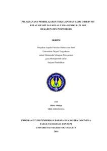Pelaksanaan Pembelajaran Teks Laporan Hasil Observasi Kelas Vii Smp