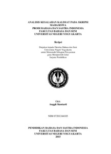 Analisis Kesalahan Kalimat Pada Skripsi Mahasiswa Prodi Bahasa Dan Sastra Indonesia Fakultas Bahasa Dan Seni Universitas Negeri Yogyakarta Lumbung Pustaka Uny