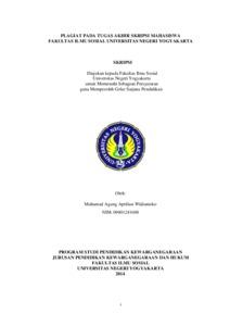 Plagiat Pada Tugas Akhir Skripsi Mahasiswa Fakultas Ilmu Sosial