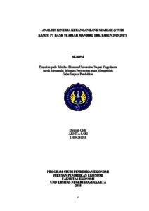 Analisis Kinerja Keuangan Bank Syariah Studi Kasus Pt Bank Syariah Mandiri Tbk Tahun 2015 2017 Lumbung Pustaka Uny